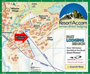Whistler Woodrun Lodge Accommodation Map
