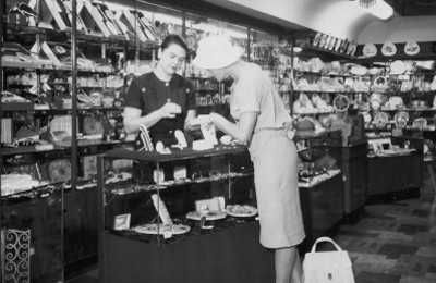Customer in Whitakers Store on Hunter Street in the 1950's