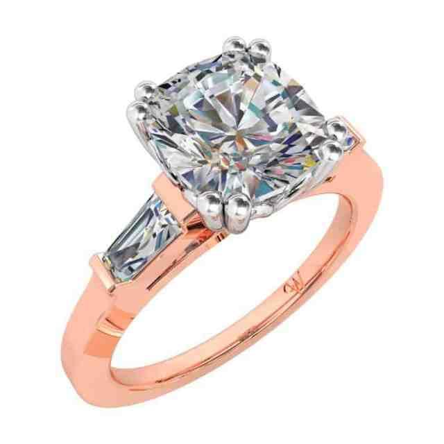 Cushion Cut Diamond Three Stone Engagement Ring