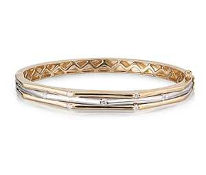 Diamond Set Three Row Bangle