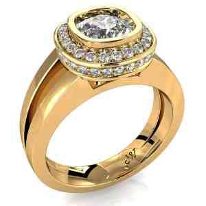 Cushion Cut Diamond Halo Engagement Ring