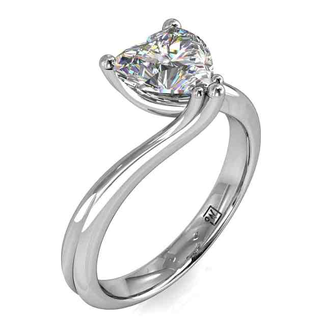 Heart Shaped Diamond Solitaire Engagement Ring