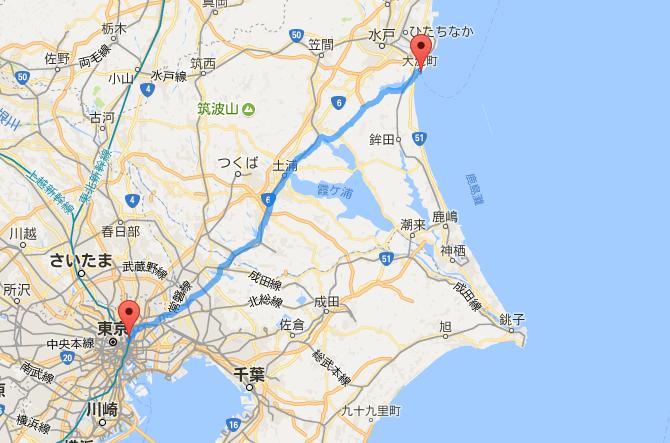 上野から大洗の距離