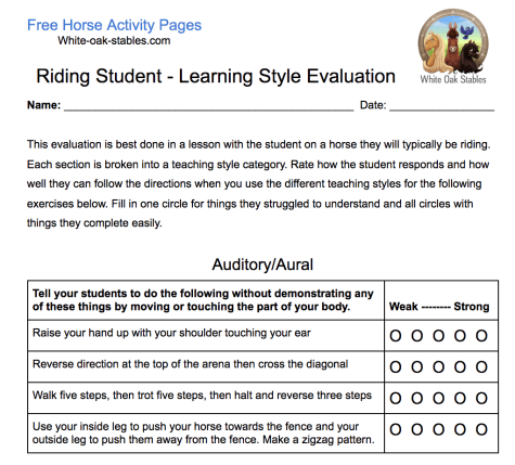 Riding Instructor - Student Learning Style Evaluation