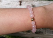 Rose Quartz Beaded Bracelet with 9ct Gold Bead 5
