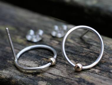 Sterling Silver Circle Earrings with Gold Bead