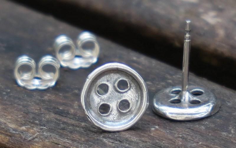 Silver Button Stud Earrings 1