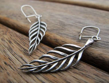Sterling Silver Leaf Earrings 1