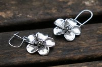 Flower Earrings, Sterling Silver Earrings  White Amber Studio