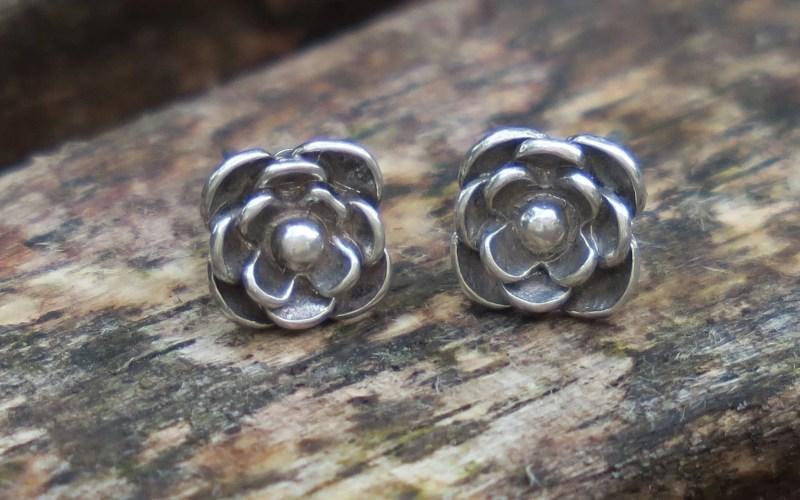 Silver Flower Stud Earrings 1