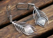 Silver Peacock Feather Earrings 2