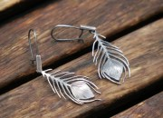 Silver Peacock Feather Earrings 4