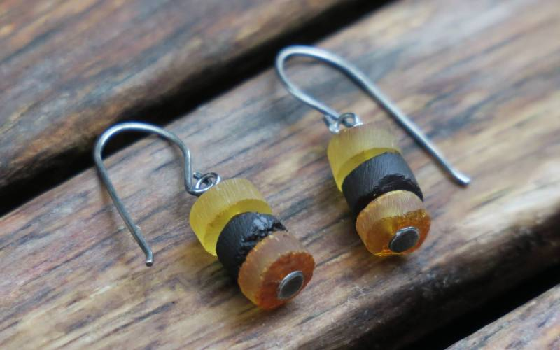 Raw Amber Earrings 1