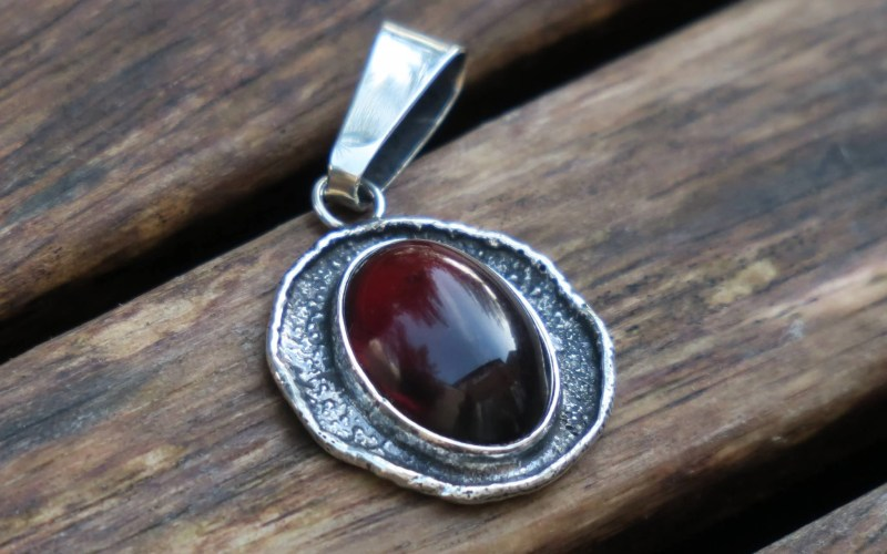 Raw Silver Amber Pendant Necklace 1