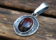 Raw Silver Amber Pendant Necklace 3