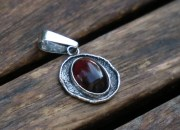 Raw Silver Amber Pendant Necklace 6