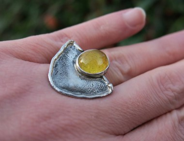 Raw Silver Amber Ring 2