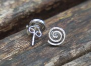 Silver Spiral Stud Earrings 2