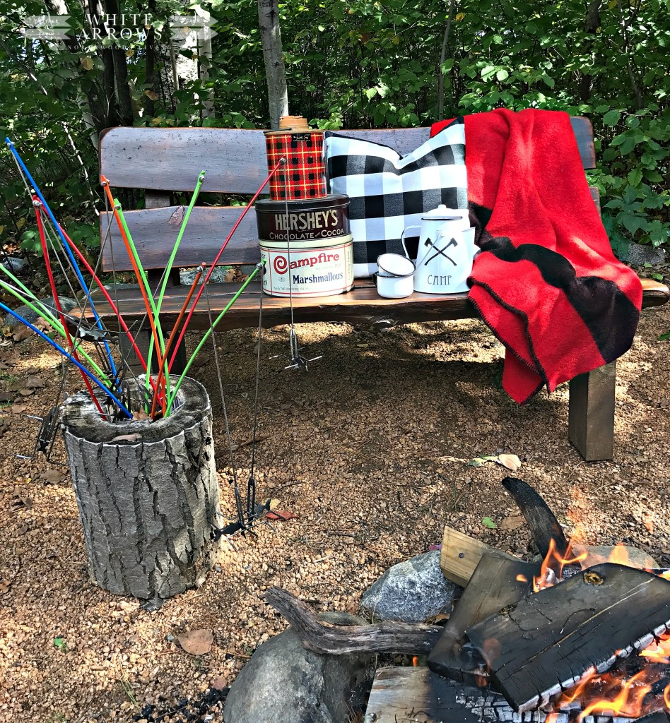 Family Vacation, Minocqua Campfire, Vintage, Campfire Marshmallow, Buffalo Plaid, Smores, Camp Style
