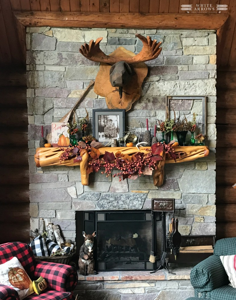Autumn Decor, Log Cabin Great Room, Stone Fireplace, Wooden Moose Mount
