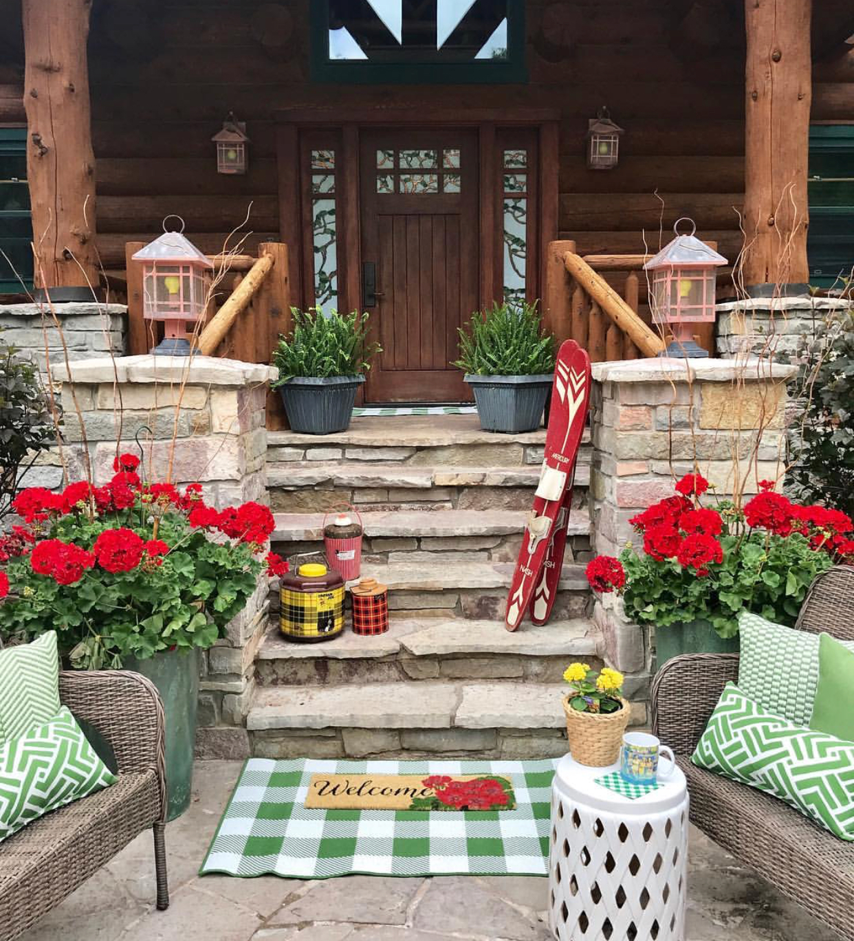Summer decor, front porch, curb appeal, geraniums, cottage, log cabin