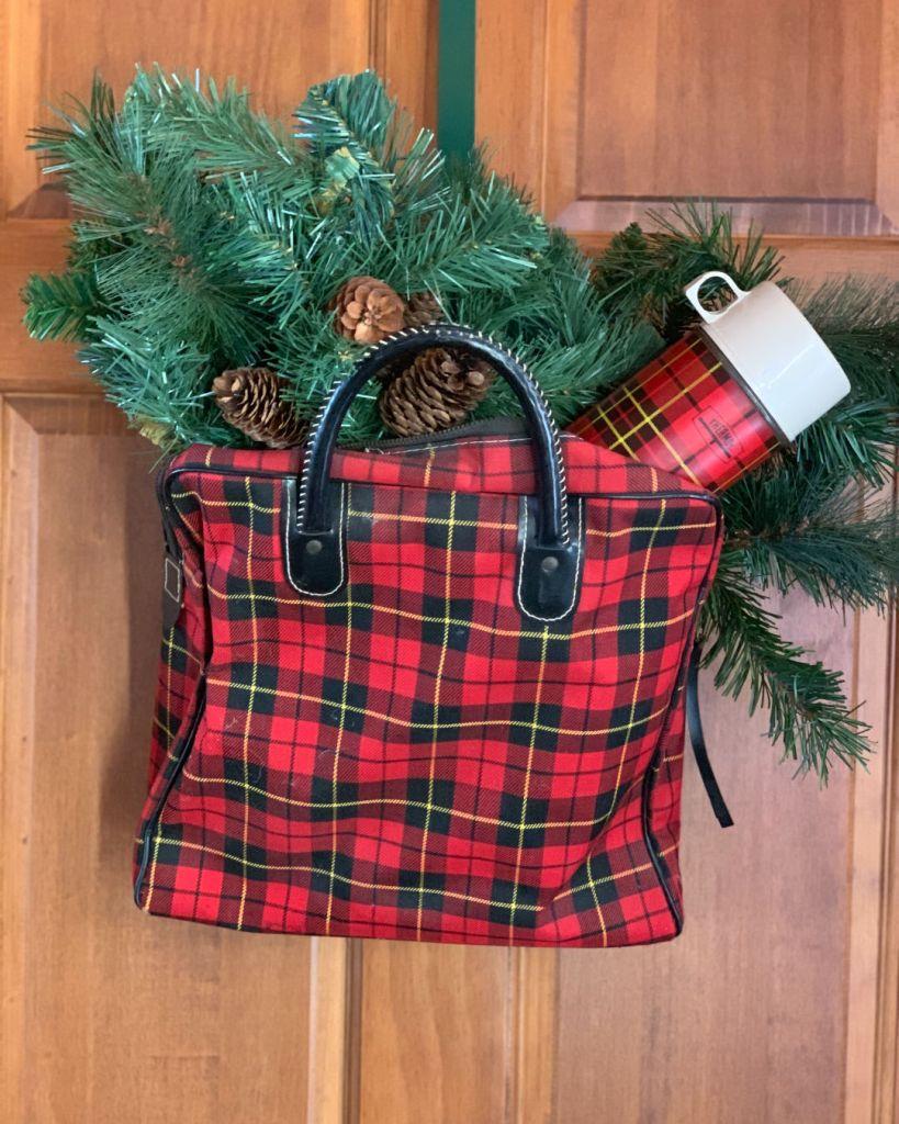 VIntage Plaid Bag of Greens Door Hanger