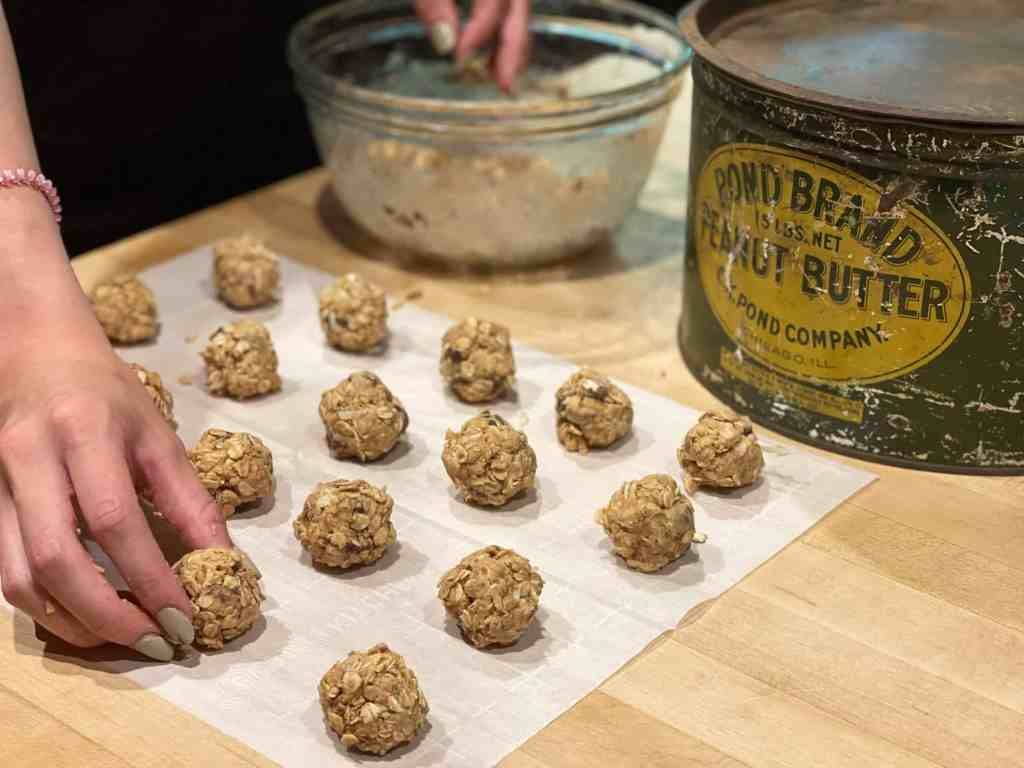 Peanut Butter Protein Balls with vintage tin