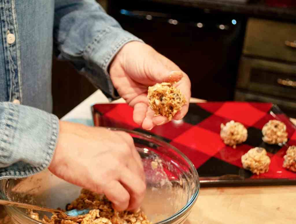 Peanut Butter Protein Balls rolling into balls