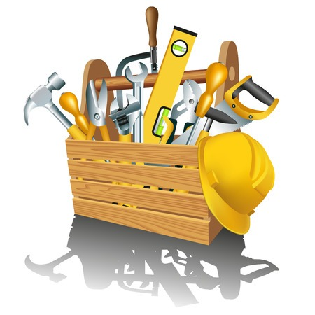 Tool box filled with tools to symbolize premium website construction