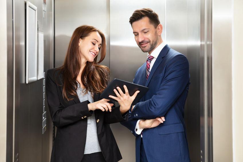 Woman Making an Elevator Pitch