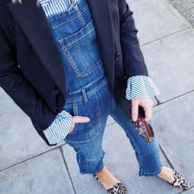 dungarees with shirt blazer and leopard pumps