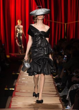 trash can hat and bin bag dress Moschino Autumn Winter 2017