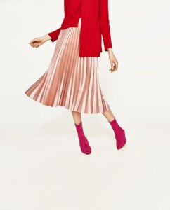 Zara pleated midi skirt in pink