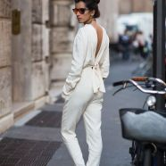 white sumpsuit flat sandals street style
