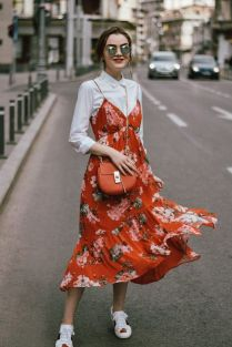 floral dress with white shirt