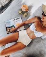 high waist bikini stripy bottom and white top