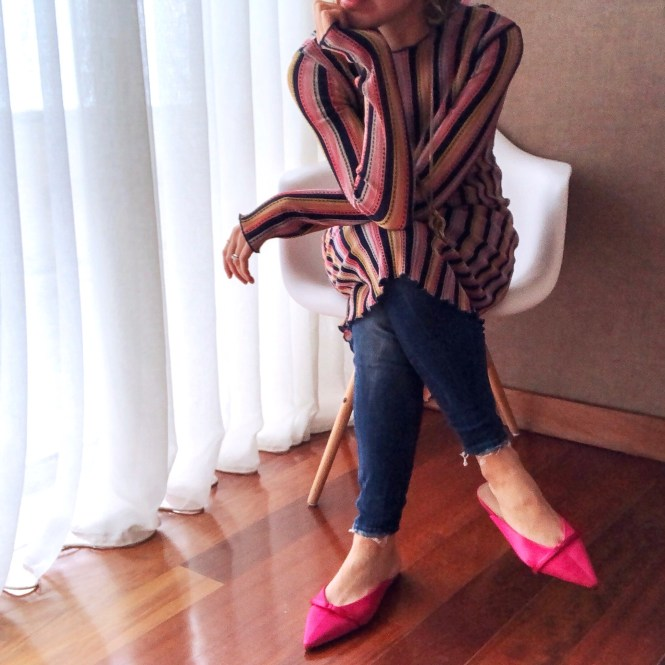 How to wear mules - pink satin mules, jeans and stripy dress. dress over jeans