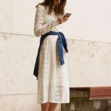 delicate white dress, denim jacket and black mules
