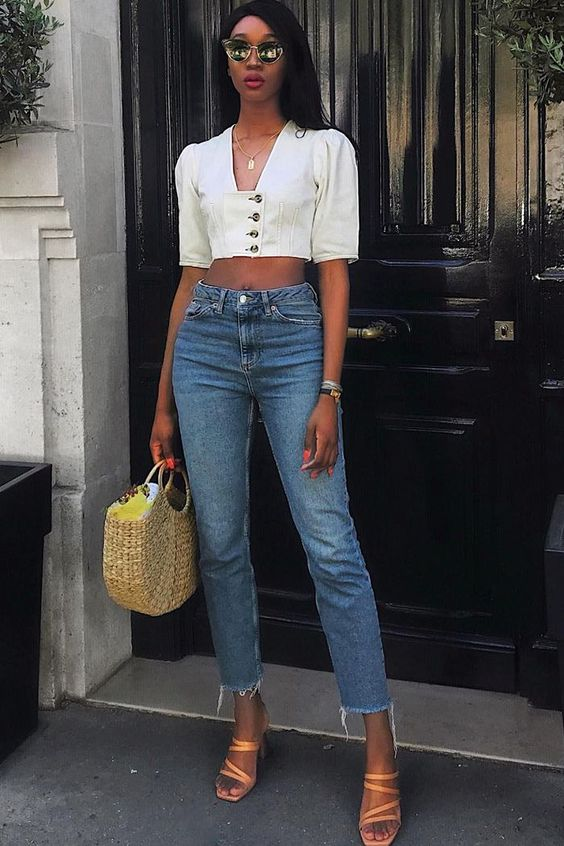 strappy sandals and jeans