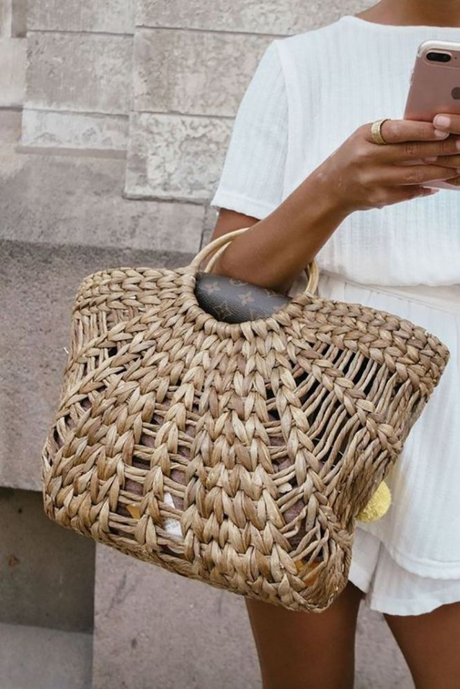 woven handbag and white dress