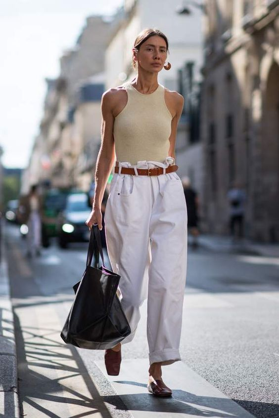 white paper bag trousers, nude racer back top, leather mules, shopper bag