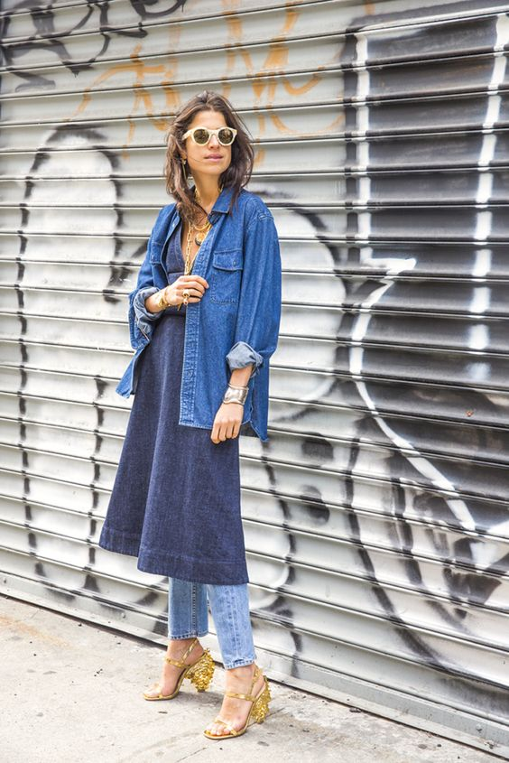 denim dress over jeans