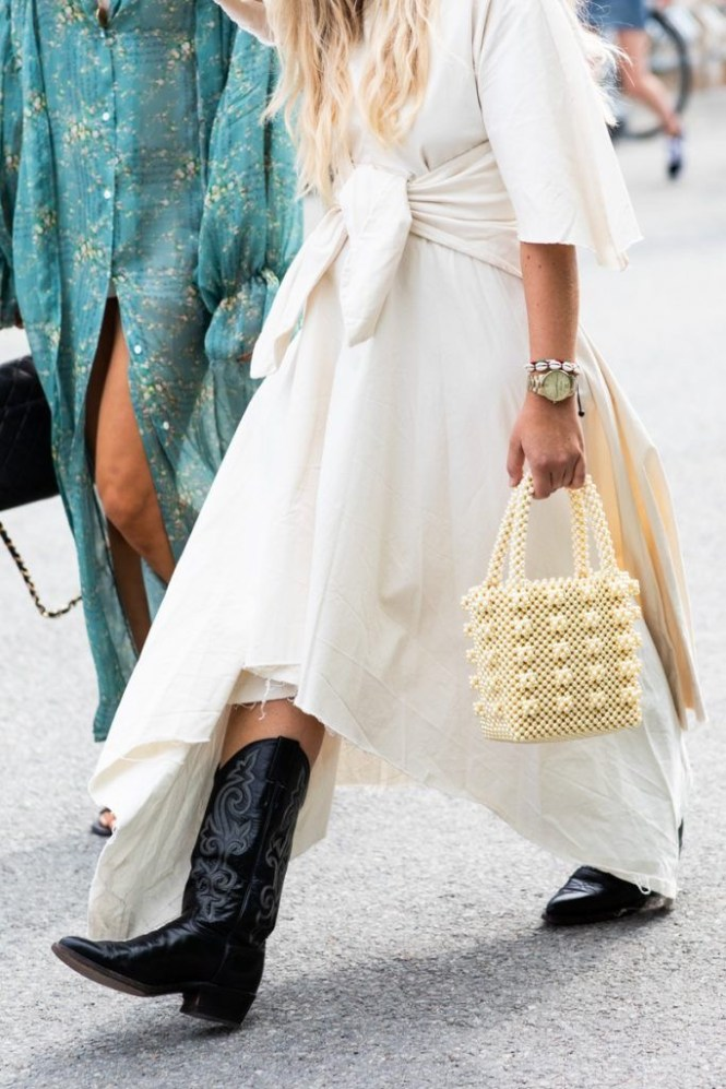 How to wear cowboy boots - maxi white dress