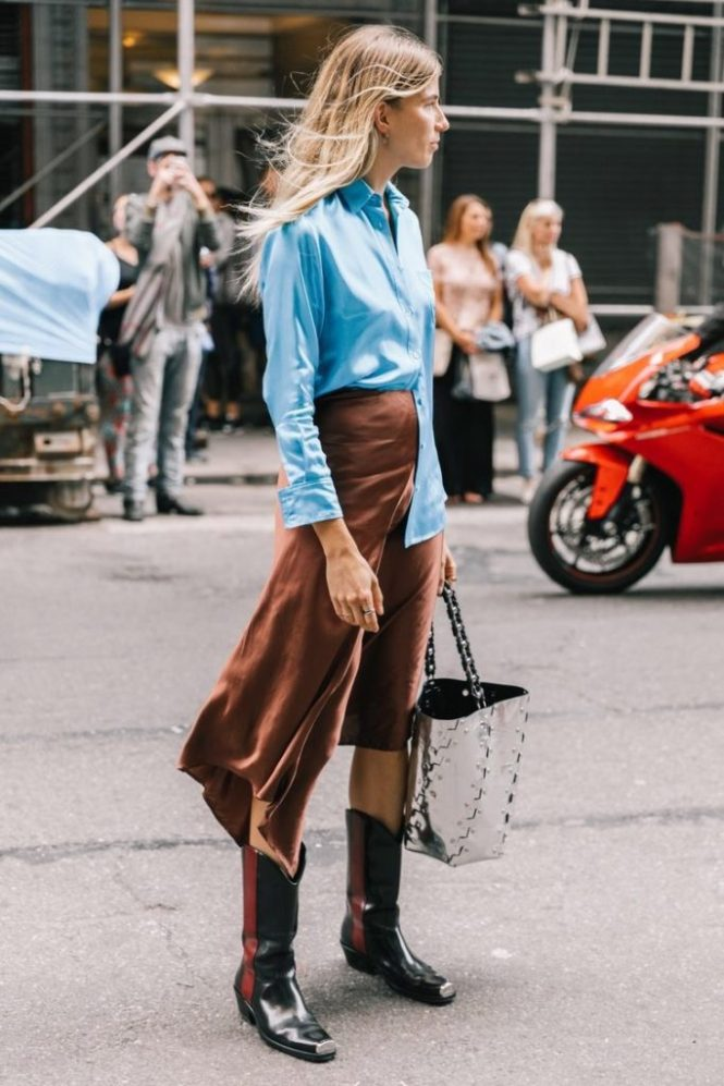 How to wear cowboy boots - with satin midi skirt