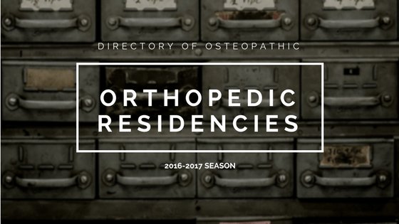 osteopathic orthopedic residencies