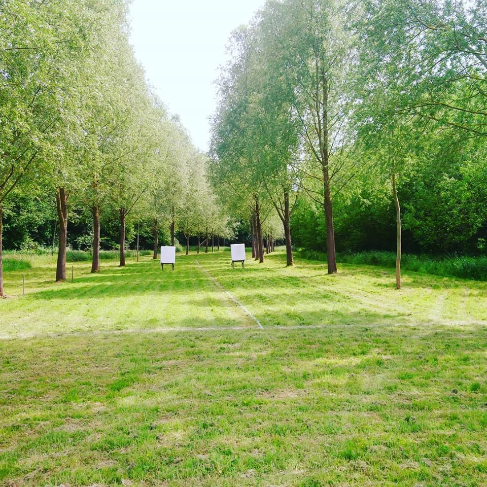Outdoor archery range with targets