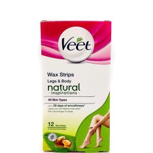Полоски восковые для деликатных мест Veet 12 шт+2 шт Finish Wipes Legs&Body