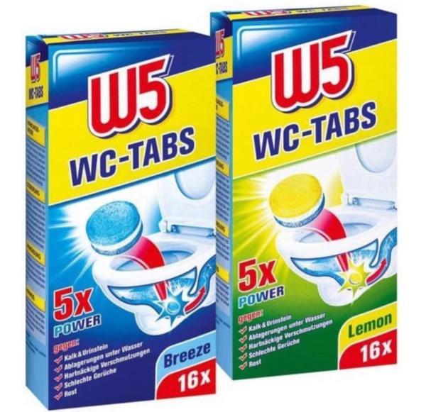 Средство для унитаза W5 Таблетки Лимон/Бриз, 16 шт.