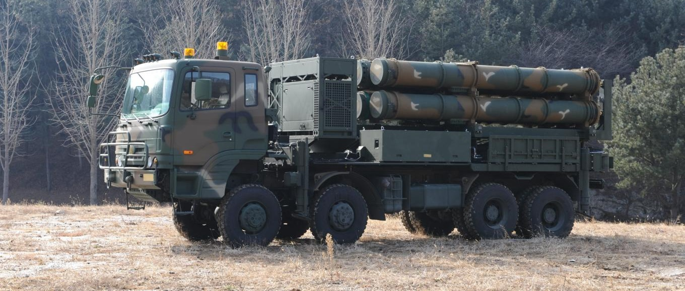 The launcher of the Cheongung II medium-range Korean-developed missile system.
