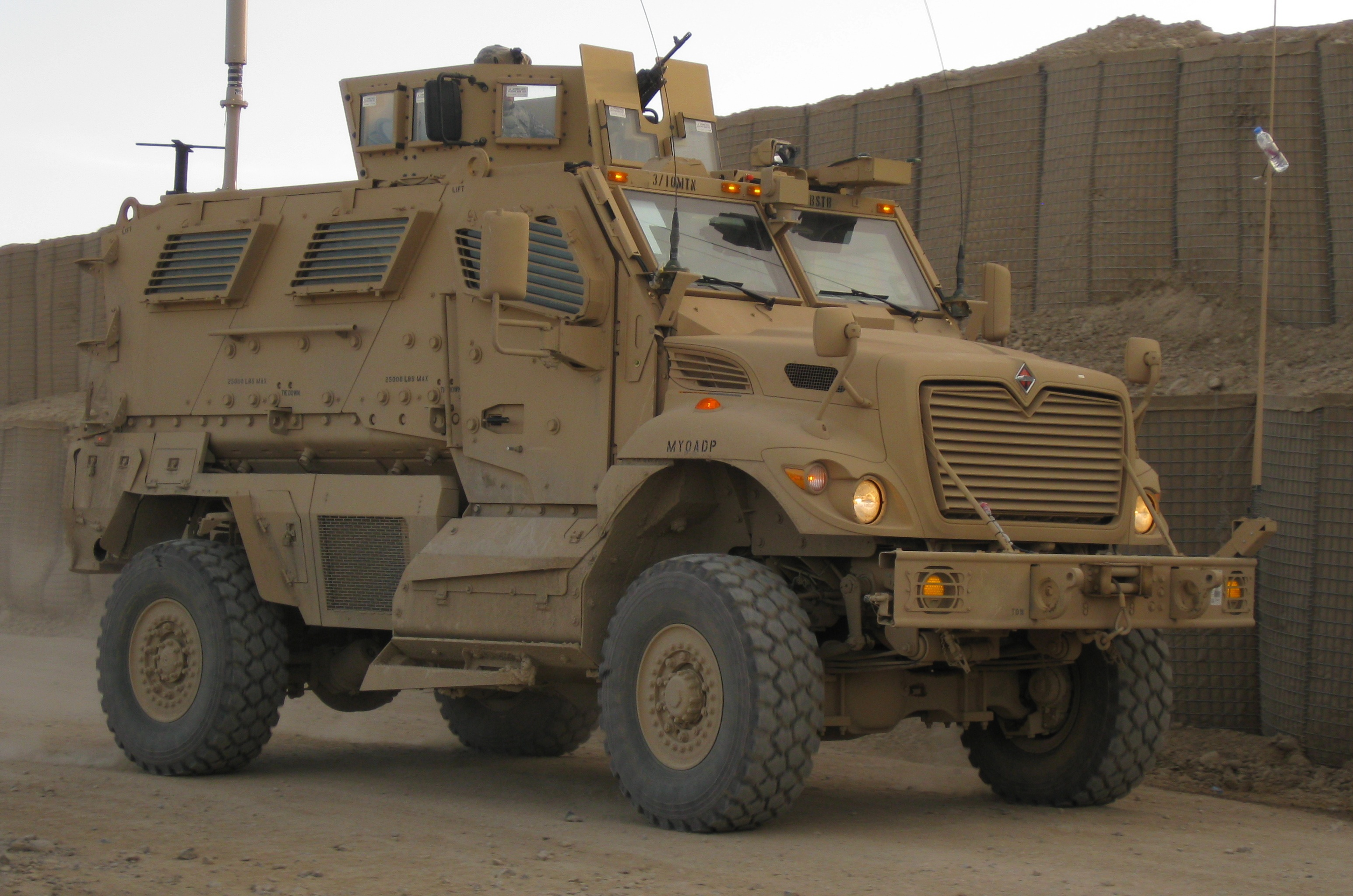 This American MaxxPro MRAP is also built from a truck chassis. Note the high center of gravity and truck-like appearance.